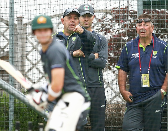 Darren Lehmann, coach of Australia, Michael Clarke of Australia and Rod Marsh, Australian Selector, look on during an Australian Training Session