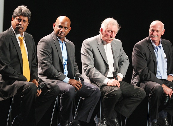 Kapil Dev, former Indian ICC Cricket World Cup Captain; Sanath Jayasuriya, former Sri Lankan Captain; Ian Chappell, former Australian captain and former Australian player Dennis Lillee