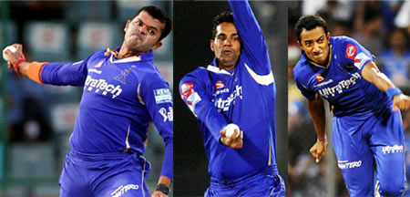 S Sreesanth, Ajit Chandila and Ankeet Chavan