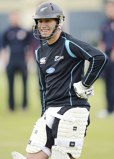 New Zealand's Ross Taylor looks on during a training session