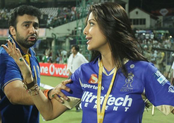 Shilpa Shetty with husband Raj Kundra at one of the IPL matches