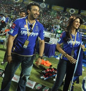 Raj Kundra and Shilpa at an IPL match