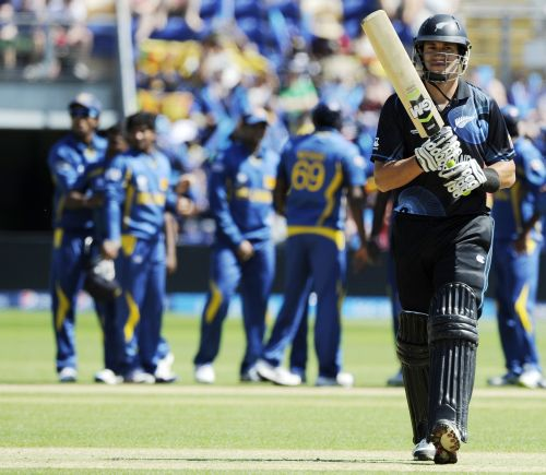 New Zealand's Ross Taylor is dismissed for a duck against Sri Lanka during the ICC Champions Trophy group A cricket match at the Cardiff Wales Stadium