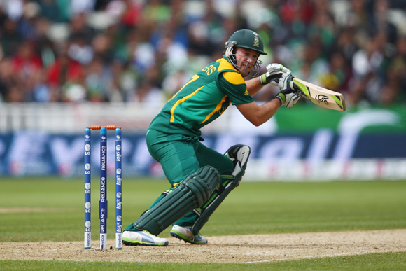 AB de Villiers of South Africa stears a shot fine during the ICC Champions Trophy Group B match against Pakistan
