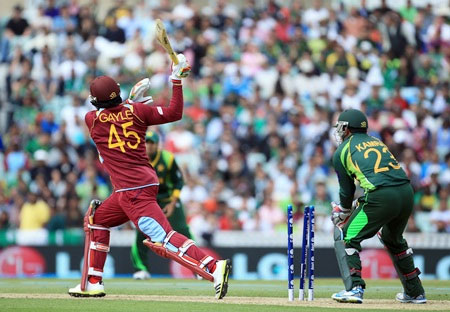 Chris Gayle of West Indies is bowled