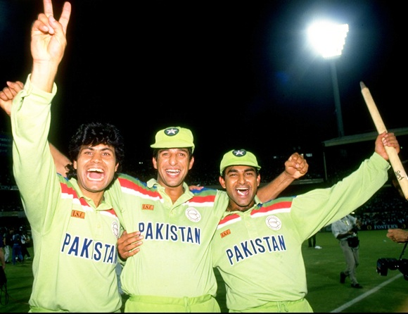 From left: Mahmood Fazal, Wasim Akram and Aamir Sohail of Pakistan