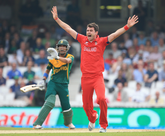 James Anderson of England sucessfully appeals for an LBW against Robin Peterson of Souh Africa