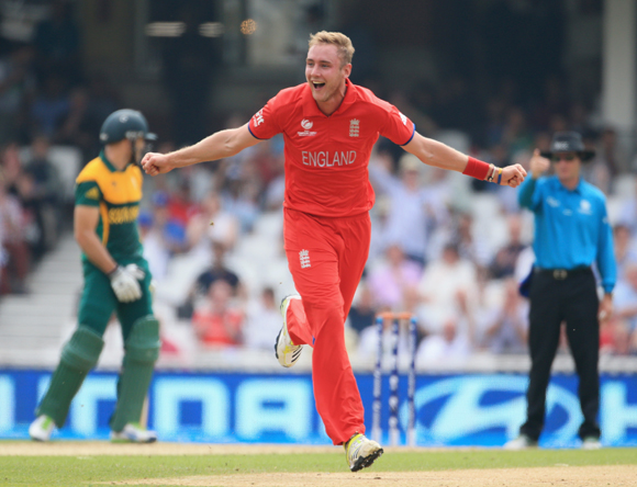 Stuart Broad of England celebrates taking a wicket