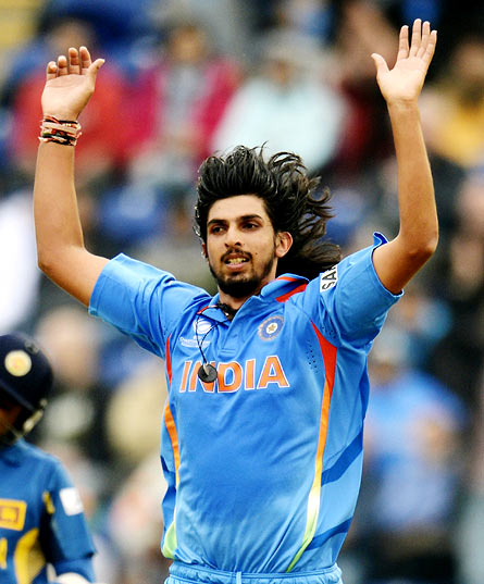 Ishant Sharma celebrates after taking the wicket of Kumar Sangakkara