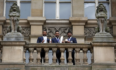 Shikhar Dhawan, MS Dhoni and Ravindra Jadeja during the ICC Champions Trophy winners photocall at the Birmingham City Council Building