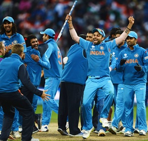 Team India celebrate winning ICC Champions Trophy