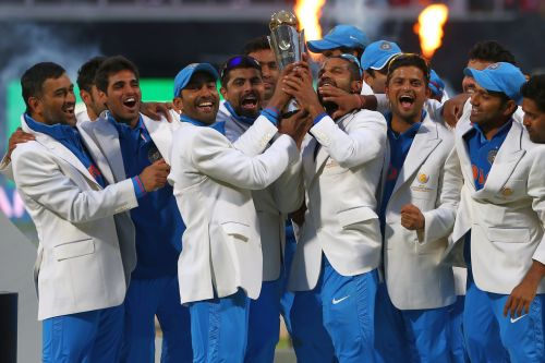 Indian team celebrates after winning the ICC Champions Trophy