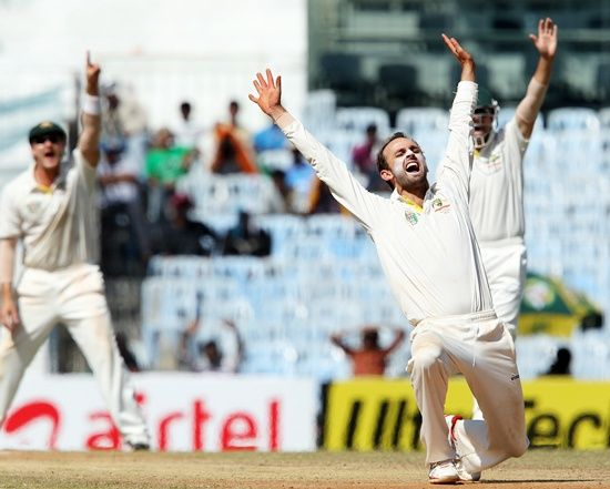 Nathan Lyon appeals for a wicket