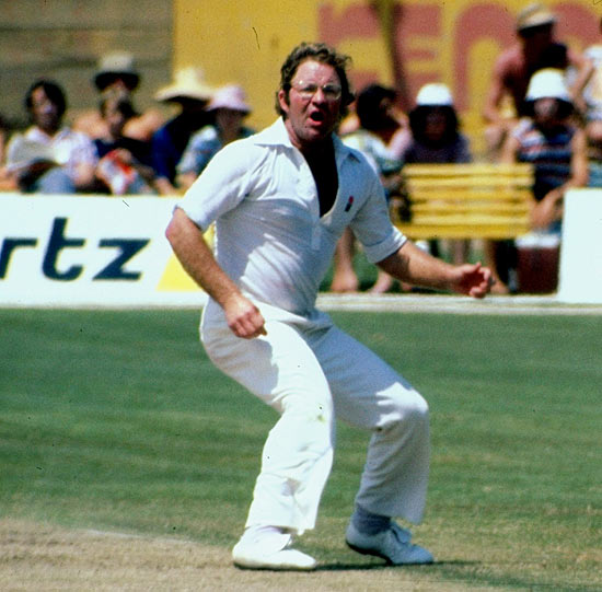 Eddie Barlow, then nearly 39, bowls during a game in June 1979.