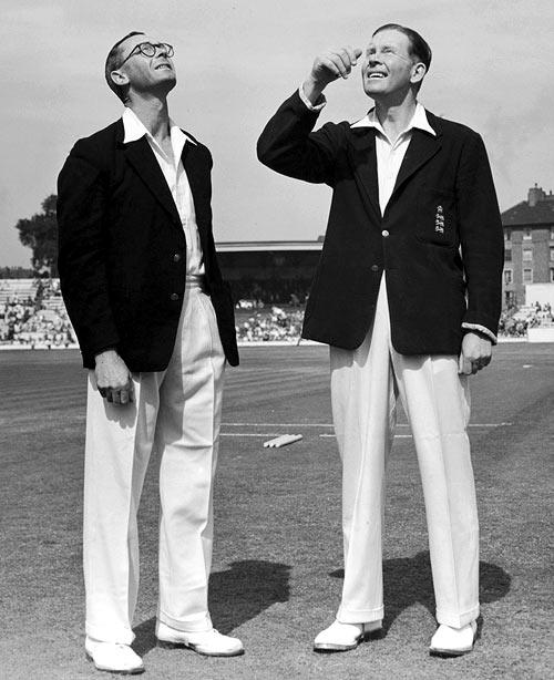 New Zealand Captain Walter Hadlee, left, and his English counterpart Freddie Brown during the toss for the final Test at the Oval, August 13, 1949.