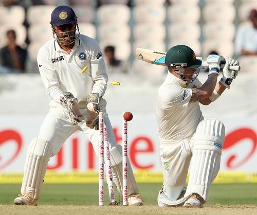 Michael Clarke is clean bowled by Ravindra Jadeja