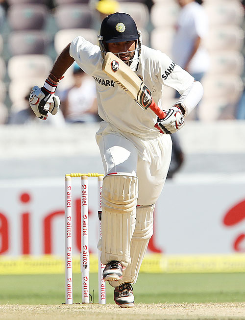 Cheteshwar Pujara sets off for a run