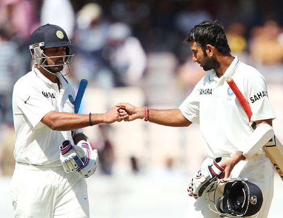 Murali Vijay (left) with Cheteshwar Pujara