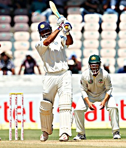 M S Dhoni in action on Day 3