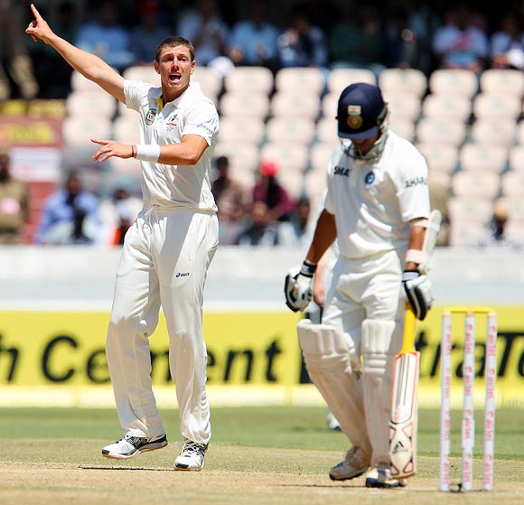 James Pattinson appeals for the wicket of Sachin Tendulkar