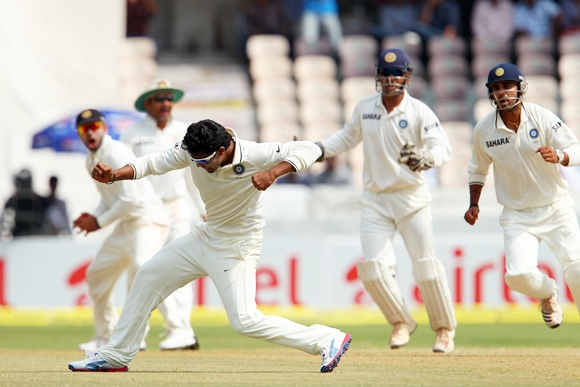 Ravindra Jadeja celebrates after dismissing Michael Clarke