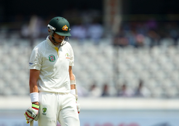 Peter Siddle is a picture of dejection as he departs