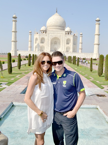 Michael Clarke and wife Kyly in front of the Taj Mahal