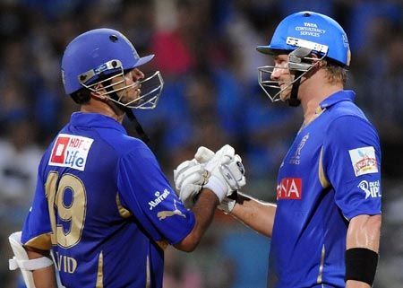 Rajasthan Royals captain Rahul Dravid (left) with Shane Watson