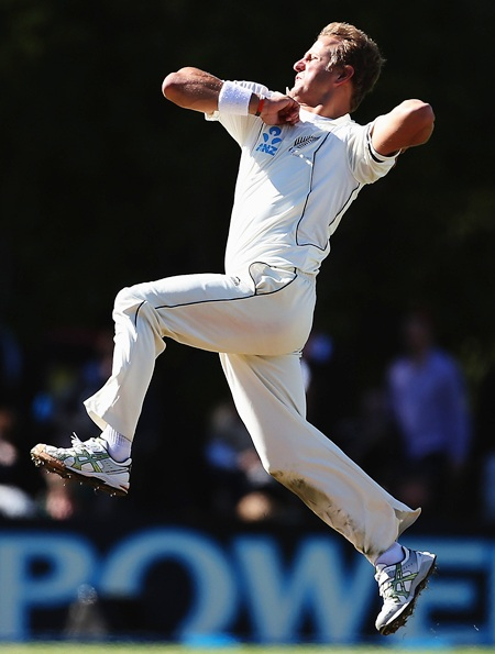 New Zealand's Neil Wagner bowls during Day 2 of the first Test between New Zealand and England at University Oval in Dunedin, New Zealand