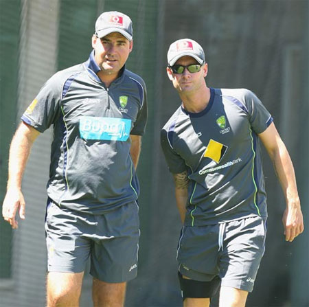 Australia coach Mickey Arthur with captain Michael Clarke
