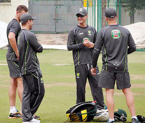 Australia's players at a training session