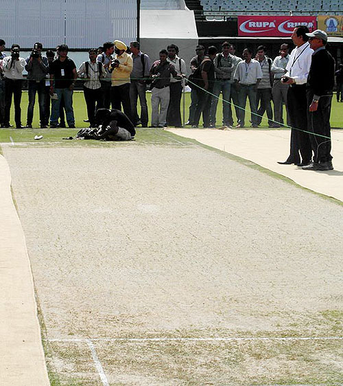 Final touches being given to the strip that will be used in the third Test between India and Australia at Mohali