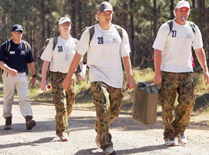 (From left) Shane Watson and Shane Warne of Australia during an outback boot camp training session