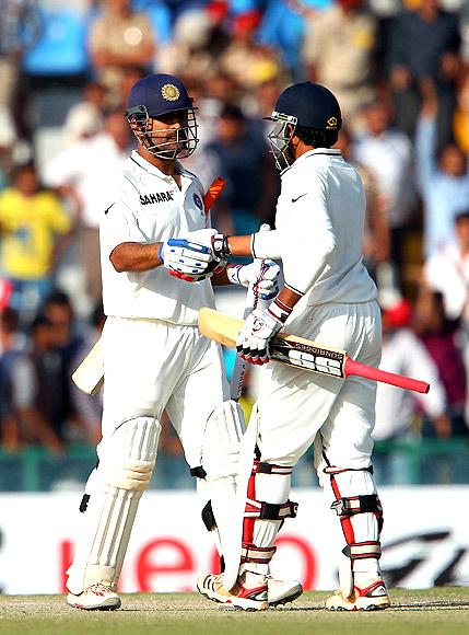Mahendra Singh Dhoni and Ravindra Jadeja celebrate the win