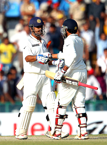 Skipper Mahendra Singh Dhoni and Ravindra Jadeja celebrate India's third win on the trot against the Aussies.