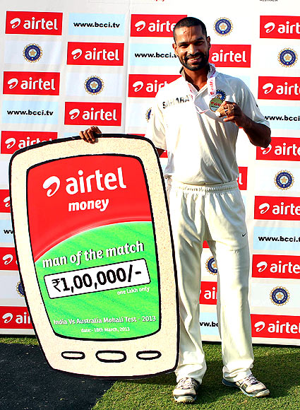 Shikar Dhawan with the man of the match honours