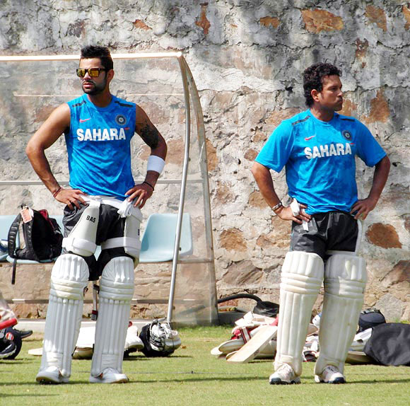Virat Kohli and Sachin Tendulkar in the nets