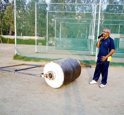 AN Sharma at the Government School nets