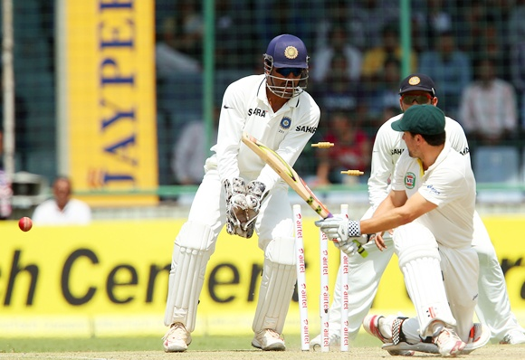 Ed Cowan is bowled by Ashwin