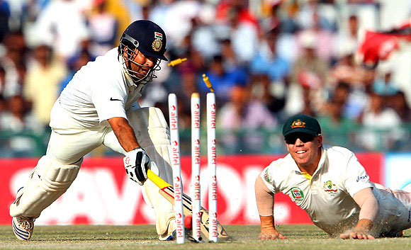 Sachin struggled against the spinners