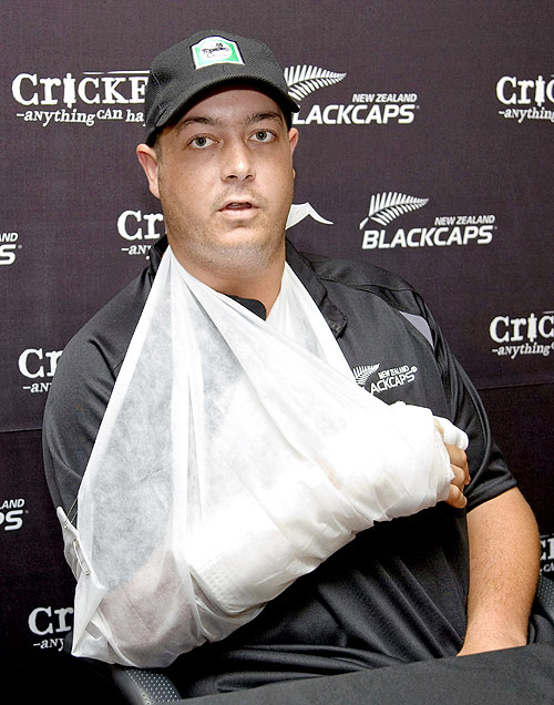 New Zealand cricketer Jesse Ryder at New Zealand Cricket headquarters on February 26, 2008 in Christchurch after cutting his hand on a window at a Christchurch nightclub while celebrating his team's One-day series win over England