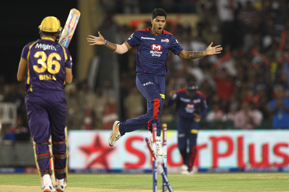 Umesh Yadav of Delhi Daredevils celebrates after bowling Manvinder Bisla of Kolkata Knight Riders