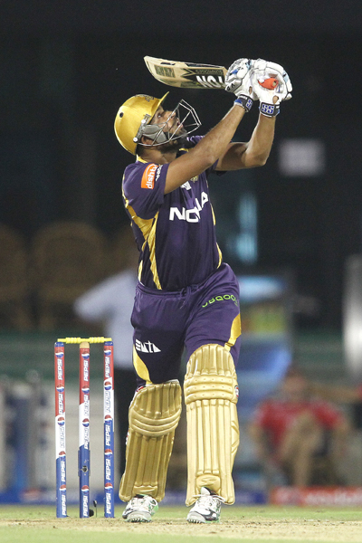 Yusuf Pathan of Kolkata Knight Riders looks up after flicking a delivery only to end up being caught by Irfan Pathan of Delhi Daredevils