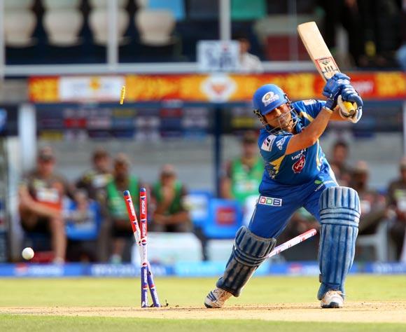 Sachin Tendulkar is bowled