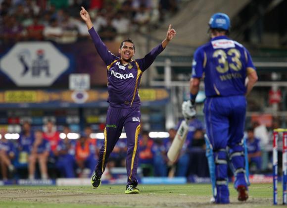 Sunil Narine celebrates the wicket of Shane Watson