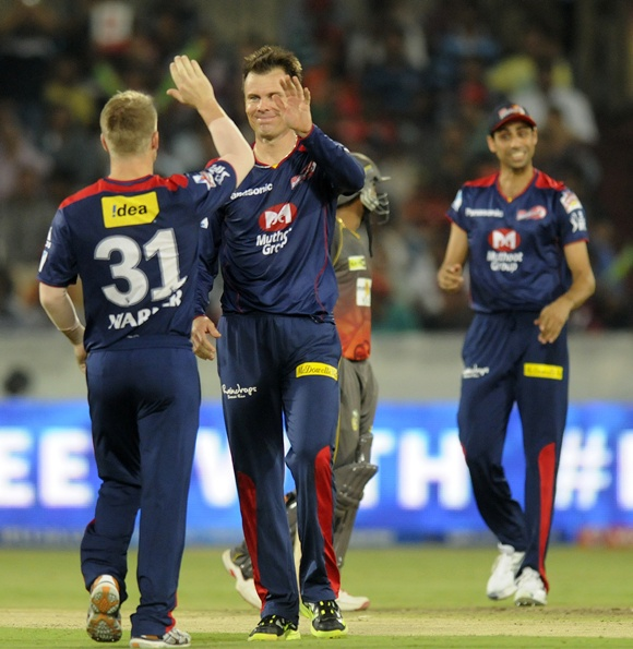 Johan Botha of Delhi Daredevils celebrates the wicket of Shikhar Dhawan of Sunrisers Hyderabad