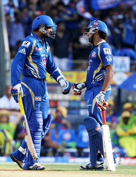 Rohit Sharma and Harbhajan Singh during their partnership