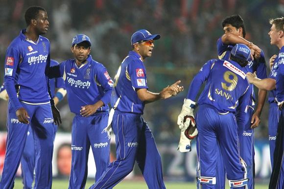 Rajasthan Royals players celebrate