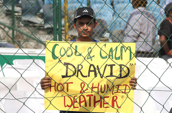 A Rajasthan Royal fan braves the heat