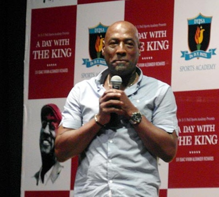 Vivian Richards at the felicitation function for coaches at the DY Patil Sports Academy